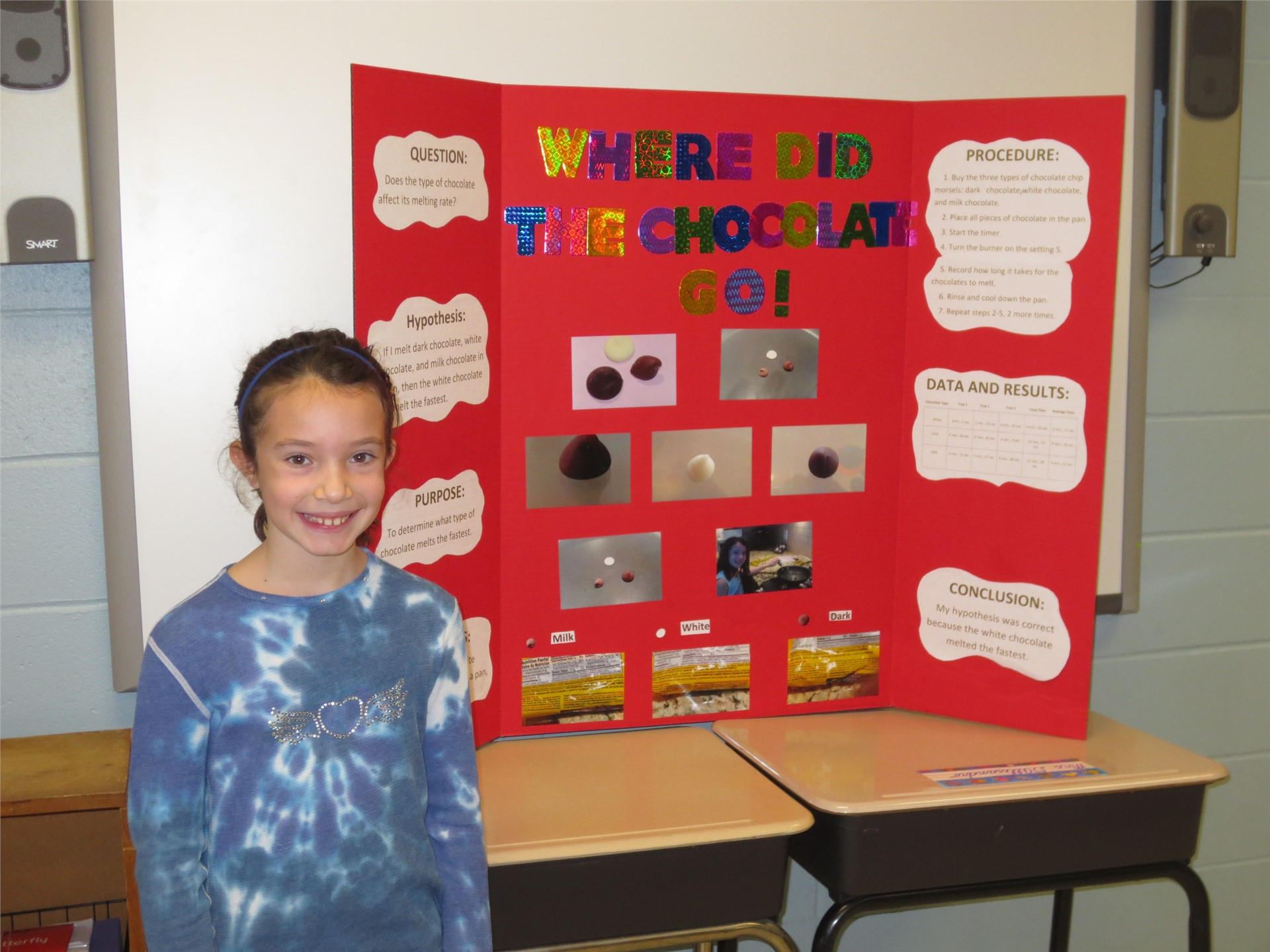 "Photo of Student's Science Fair Project Called ""Where Did The Chocolate Go"""