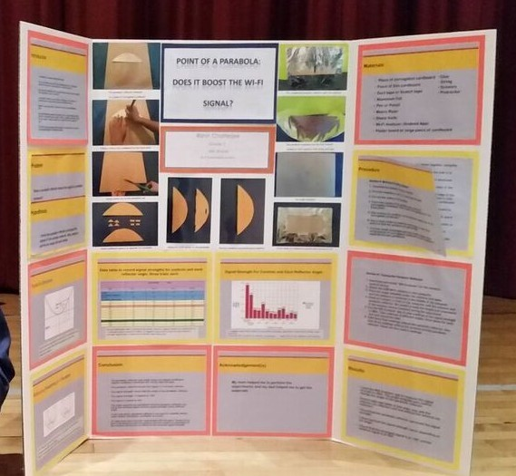 "Photo of Student's Science Fair Project Called ""Point of a Parabola: Does it Boost the Wi-Fi Sig"