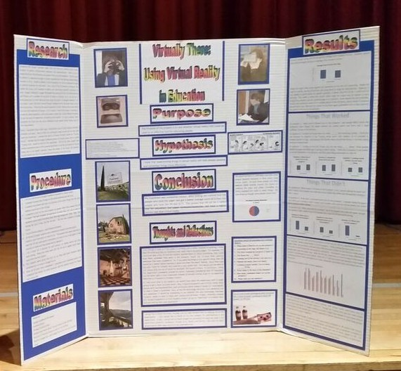 "Photo of Student's Science Fair Project ""Virtually There: Using Virtual Reality in Education"""