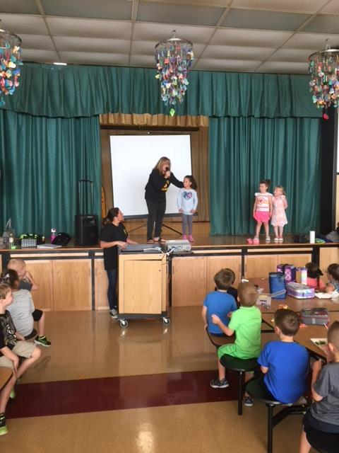 Photo of Wood Park Students playing games show quiz about The 7 Habits