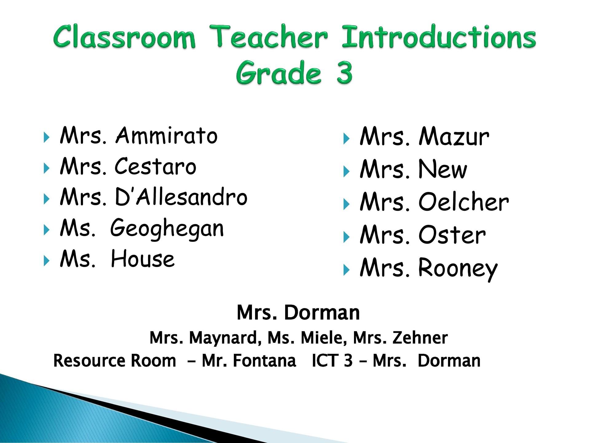 3rd Grade Classroom Teachers