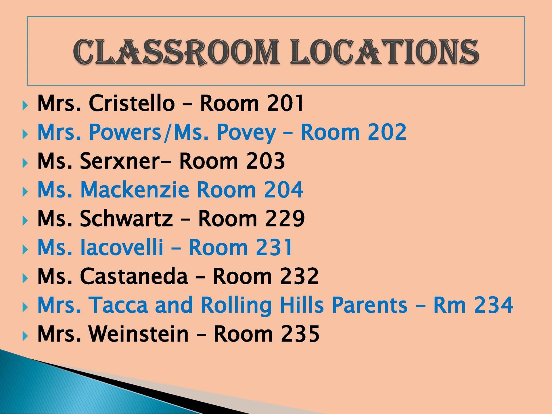 Classroom Locations