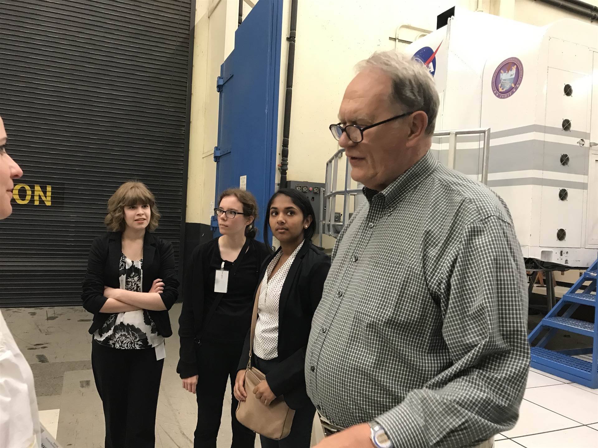 Our Commack researchers tour the NASA Vertical Motion Simulator w NASA astronaut Karol J. Bobko.