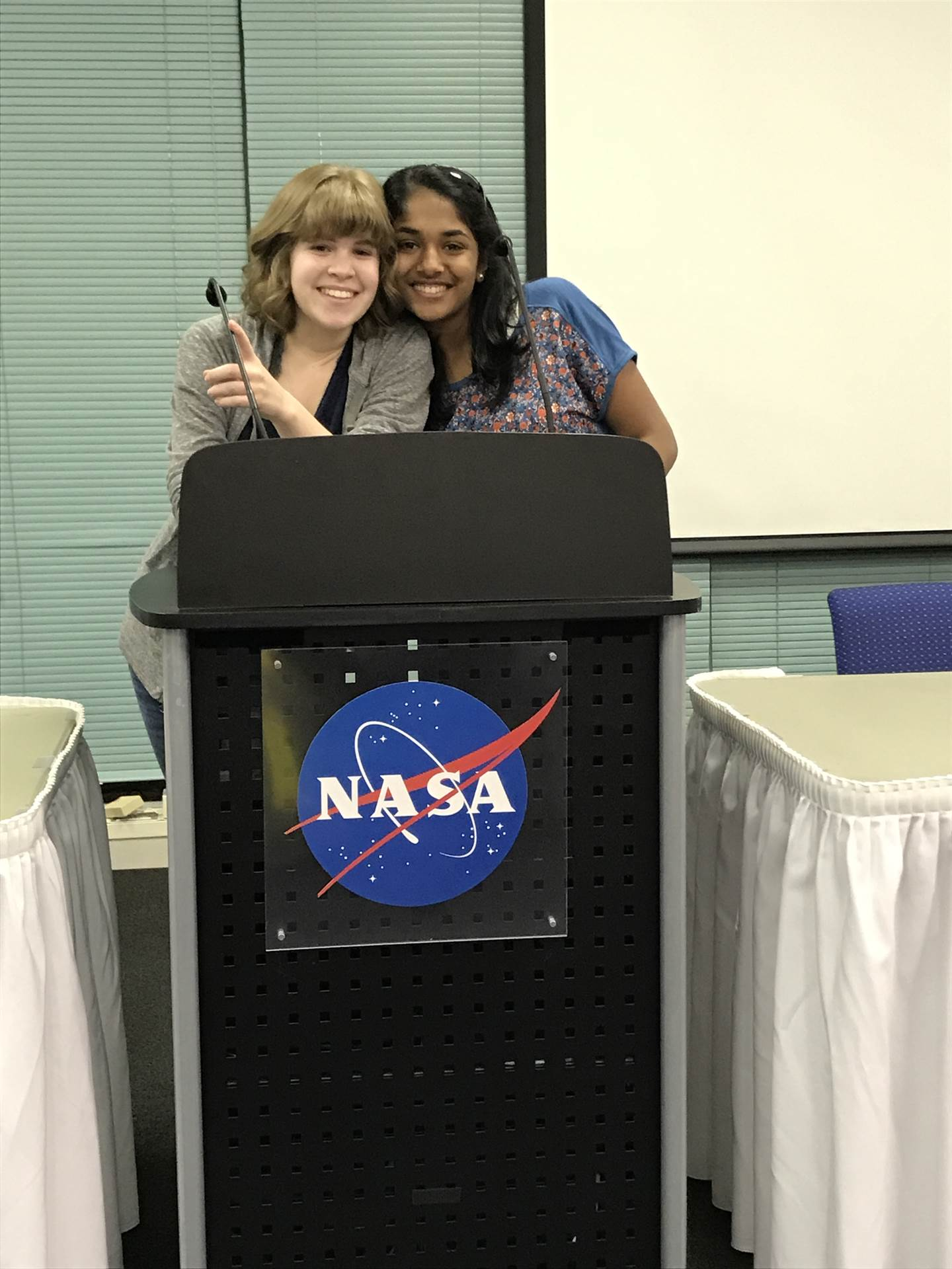 Delina and Pragati set up @ NASA SSERVI Exploration Science Forum @ Ames Research Center