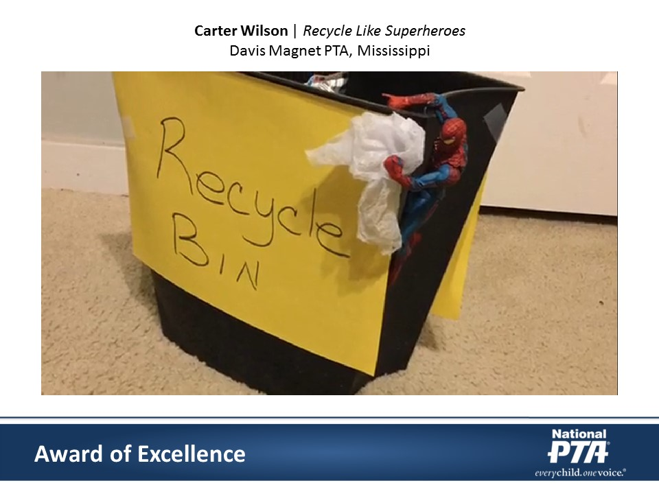 National PTA 2016 Reflections Awards, Carter Wilson, Recycle Like Superheros