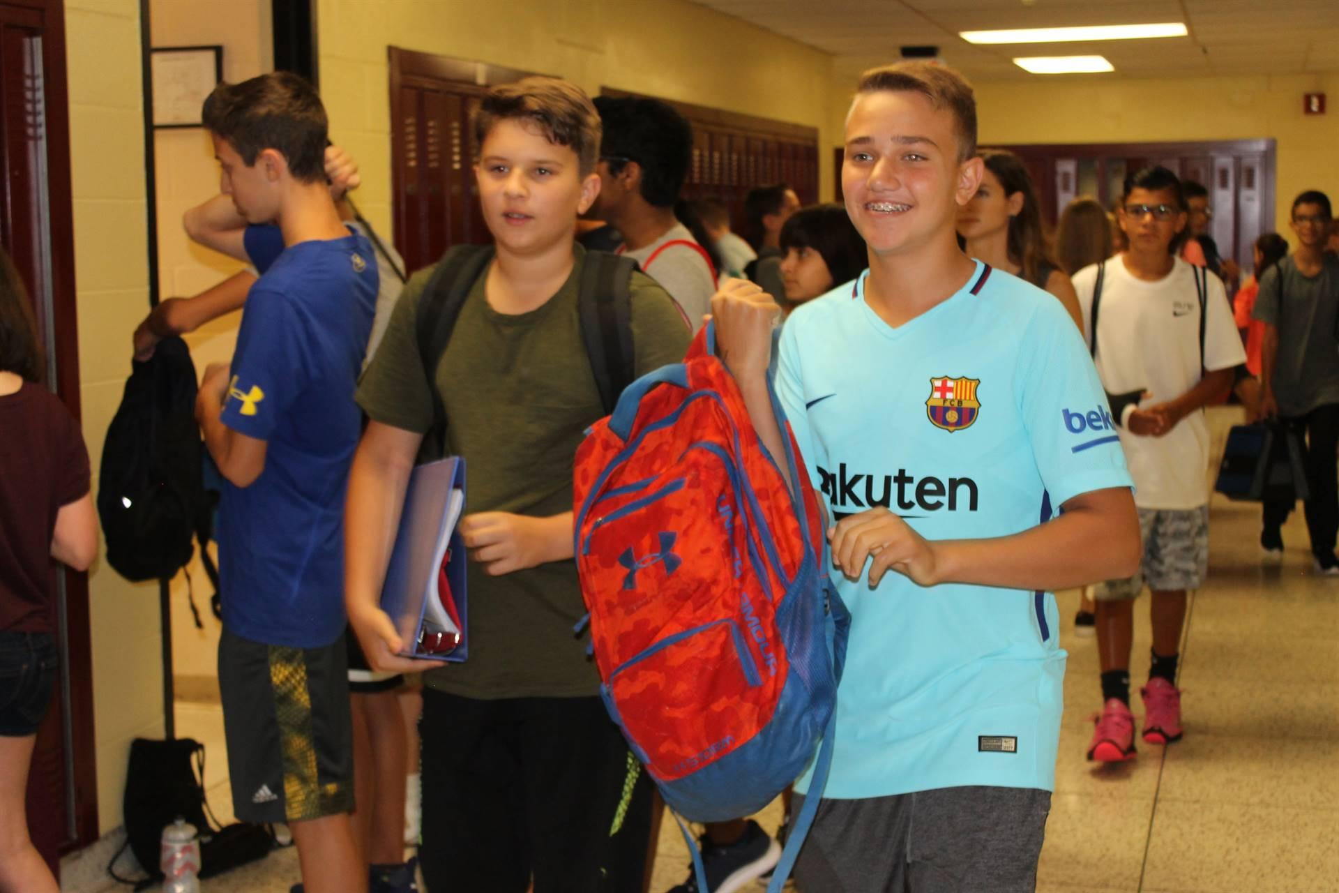 students walking through halls