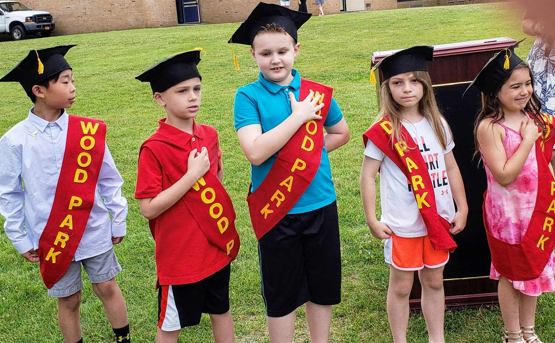 Photo of Wood Park Second Grade Honor Guard at Moving Up Ceremony