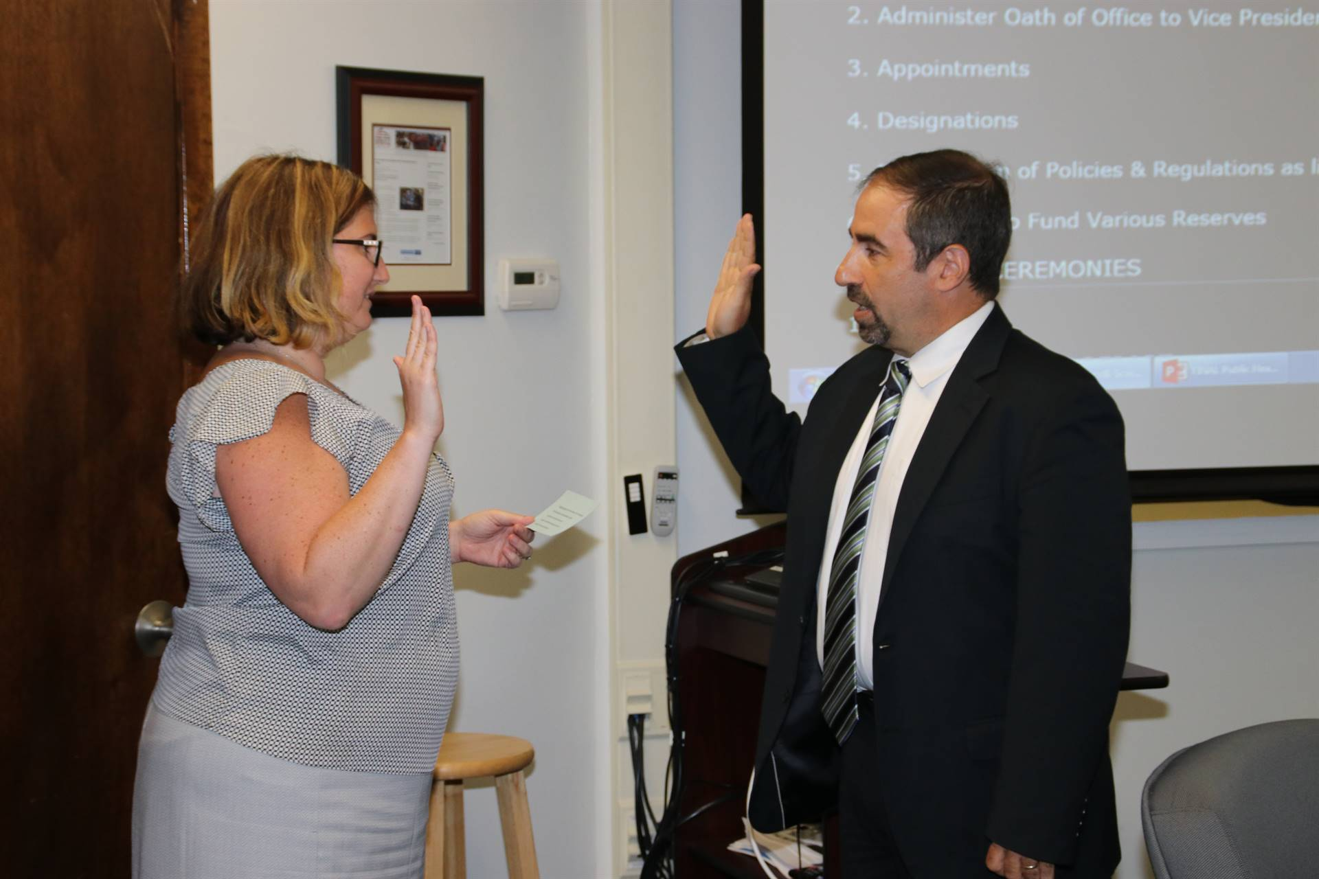 Steven Hartman is sworn in as the BOE President.