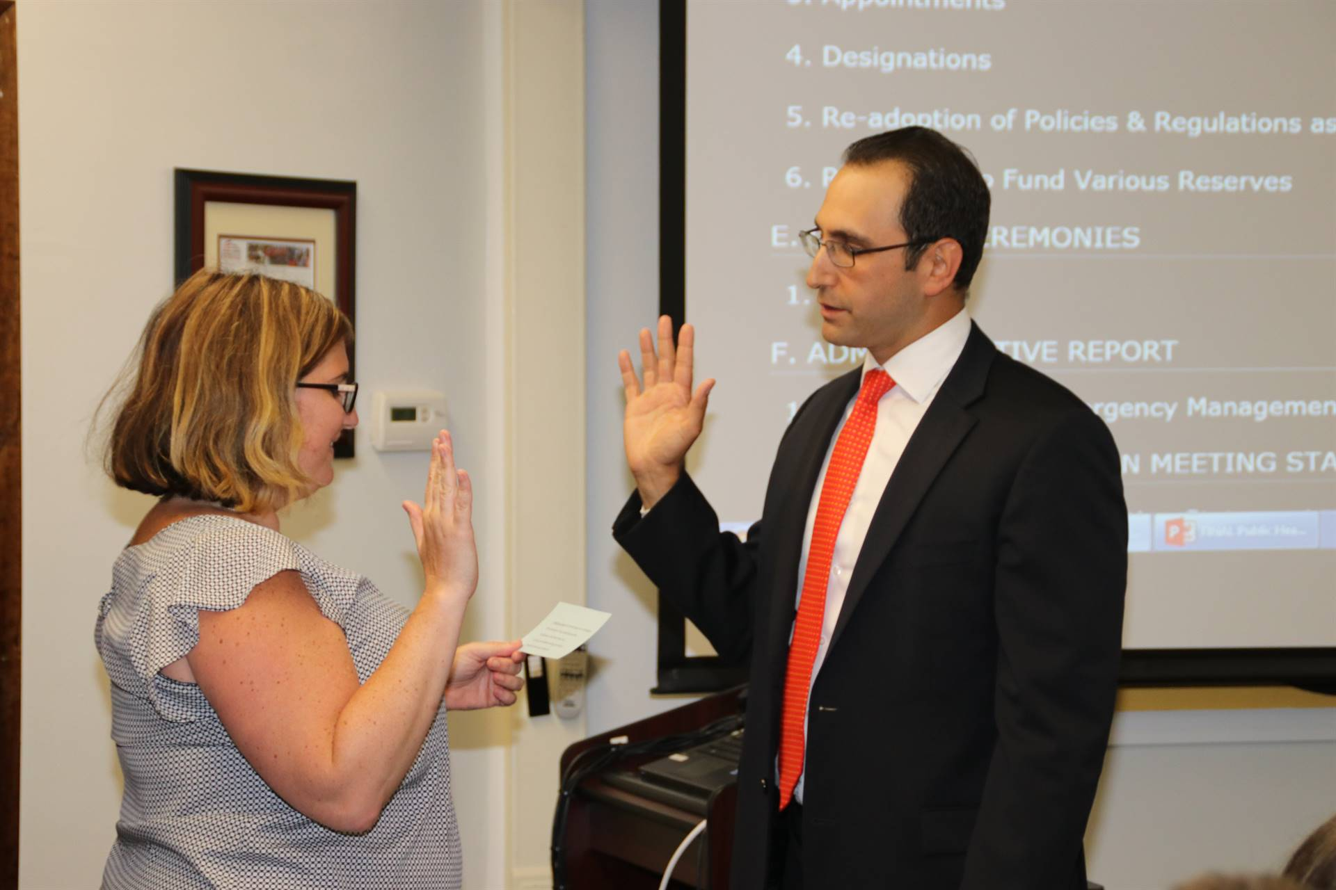 Jarrett Behar is sworn in as the Vice President.