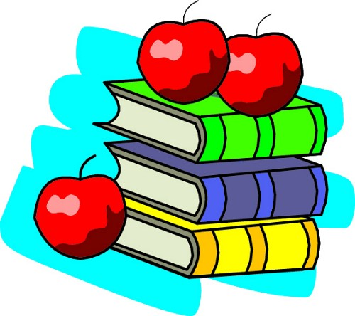Image of stacked textbooks with apples on top