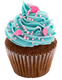 cupcake with blue icing