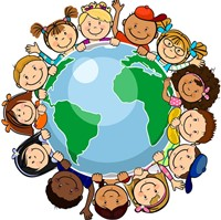multicultural children encircling earth